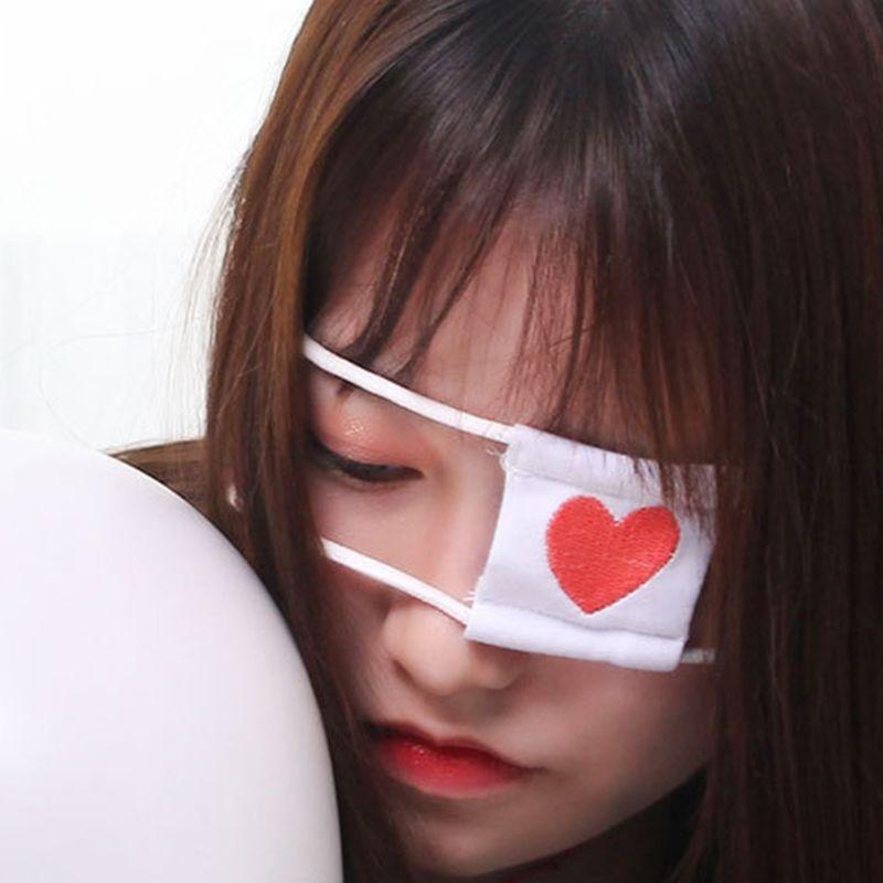 Women Girl Toyko Anime Cosplay Costume Student Eyeshade Red Heart Embroidered Single Eye Mask Elastic Earloop Blindfold