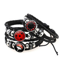 Shippuden Anime Leather Bracelet Uchiha Sasuke Icon Glass Round Photo Handmade Beaded Bracelets Fashion Fans Gift
