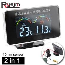 HD 2 Em 1 temp água bitola Voltímetro Termômetro Universal 10 ~ 100 C Digital LED TEMPERATURA Da Água Tester Medidor de Temperatura para Carro 12V