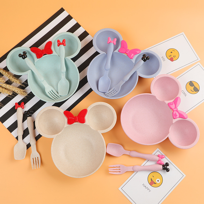 Wheat Straw Bowl Children Cartoon Tableware Set Baby Dinner Plate Baby Training Bowl Spoon Fork For Kids Without Retail Box