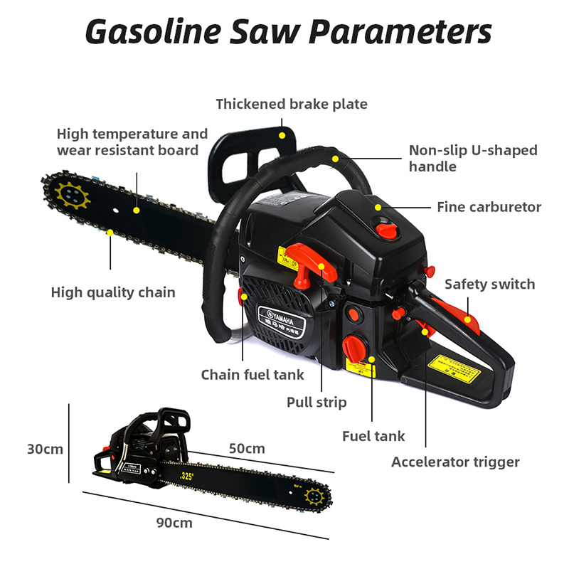 68CC Powered Chain Gas Pruning Chainsaw Tools Cutting Chainsaw Power Logging Saws 5000W Wood Gasoline Gasoline
