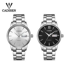 Image 5 - CADISEN automatyczny męski zegarek mechaniczny wodoodporny kalendarz tygodniowy podwójny pokaz biznesowy dżentelmen styl męski pasek stalowy zegarek