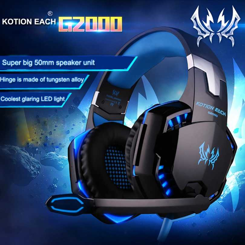 KOTION כל G2000 G9000 גיימר משחקים הטובה ביותר עמוק בס אוזניות סטריאו אוזניות מחשב עבור מחשב משחק אוזניות עם מיקרופון LED אורות