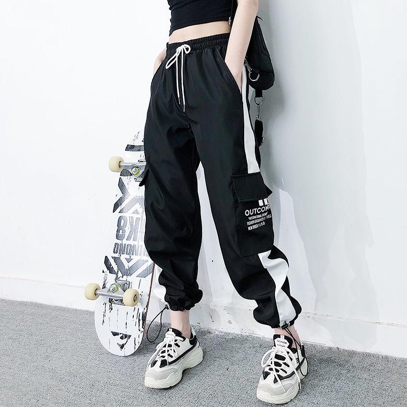 2020 cargo pants summer women High waist pants loose joggers pants streetwear punk black capris trousers Korean Harem Pants