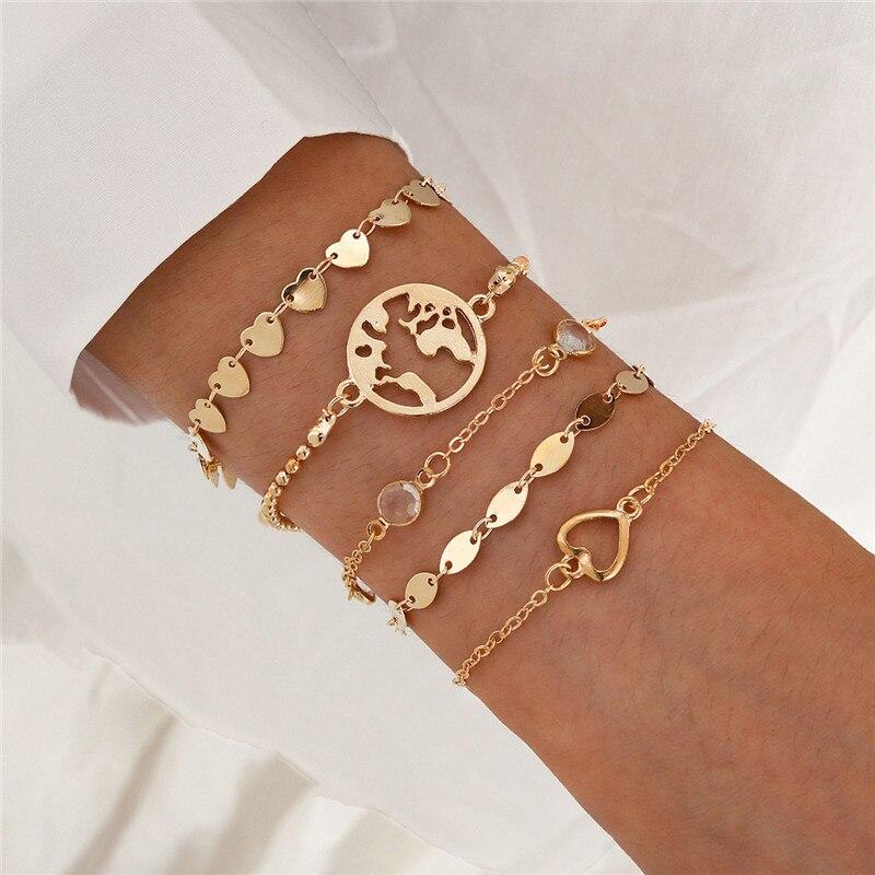 Wukalo nova moda mapa do mundo pulseiras & pulseiras link corrente jóias cor do ouro charme feminino coração pulseira de cristal para mulher