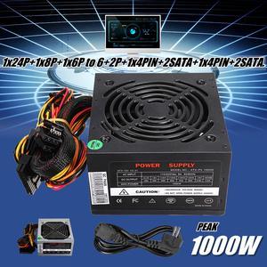 Fan PSU Power-Supply Computer PC ATX Silent 1000W SATA Max 12V 24pin for Intel AMD