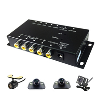4 Cameras switch control box IR Remote Car Multiple Cameras Video Image for Front/Rear/Left/Right View reverse Parking System