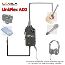 Comica LinkFlex AD2 Preamp Adapter Connector XLR 6.35mm-3.5mm Audio with Phantom Power for Camera Guitar Smartphone Microphone