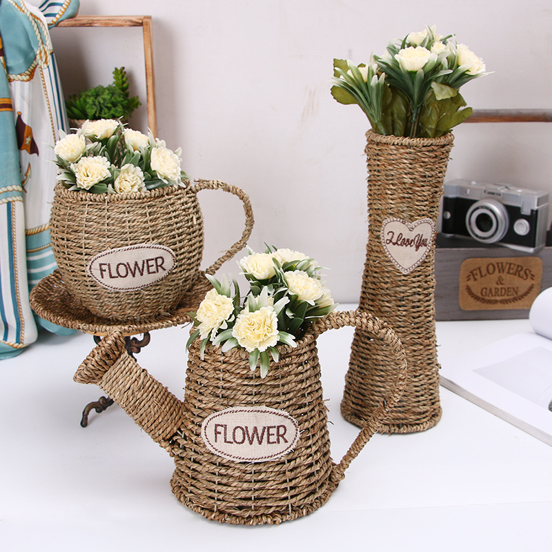 Creative Wicker Hand-woven Storage Basket Rattan Flower Basket Home Garden Decorative Flower Pot (excluding Flowers) WF912345