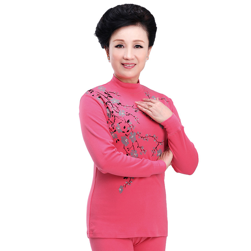 M-4XL Printed Turtleneck Mother 's Thermal Underwear Good Quality 100% Cotton Soft Warm Long Johns Old Women Winter Pajamas