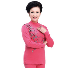M-4XL Printed Turtleneck Mother s Thermal Underwear Good Quality 100% Cotton Soft Warm Long Johns Old Women Winter Pajamas