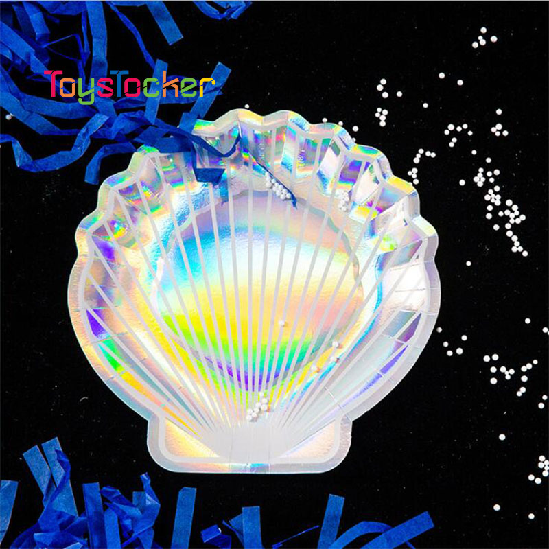 Disposable Party Tableware Set Shell Form Laser Paper Plates Cups Kids Birthday Wedding Party Decoration Xmas Supplies