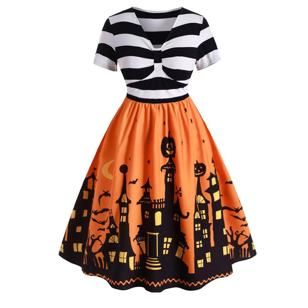 Women Dress Vintage Short Sleeve V Neck Halloween Housewife Print Knotted Knee-Length