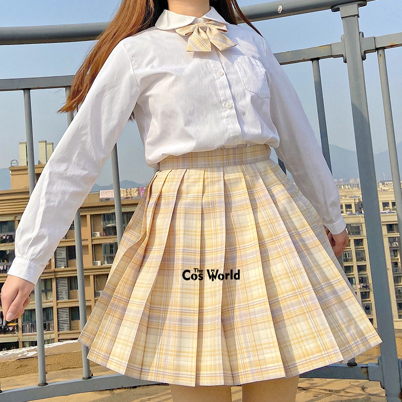[Driftmoon] Girl's Summer High Waist Pleated Skirts Plaid Skirts Women Dress For JK School Uniform Students Cloths