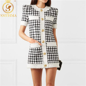 SMTHMA 2020 New Fashion Summer Dress Women Elegant Vintage Houndstooth Dresses Ladies Runway Jacquard knitting Dress(China)