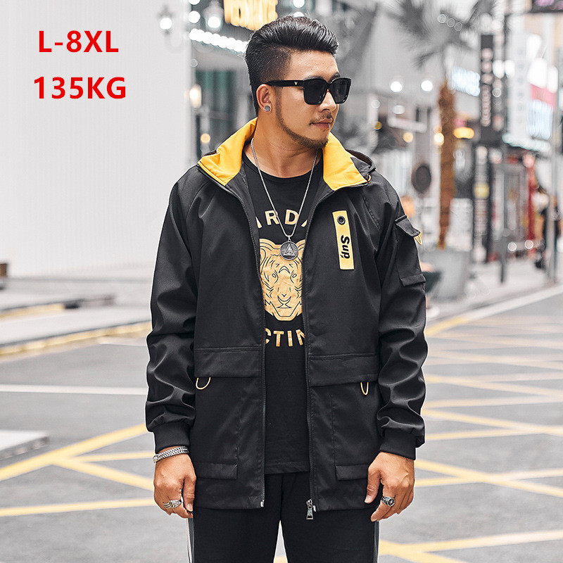 Black Hoodies Men Teenager Autumn Jacket Juvenile Plus Size 6XL 7XL 8XL Mens Windbreaker Yellow Red Cargo Mens Clothes 2019 Coat