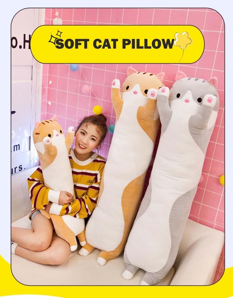 Bonito animal gato travesseiro do bebê brinquedos