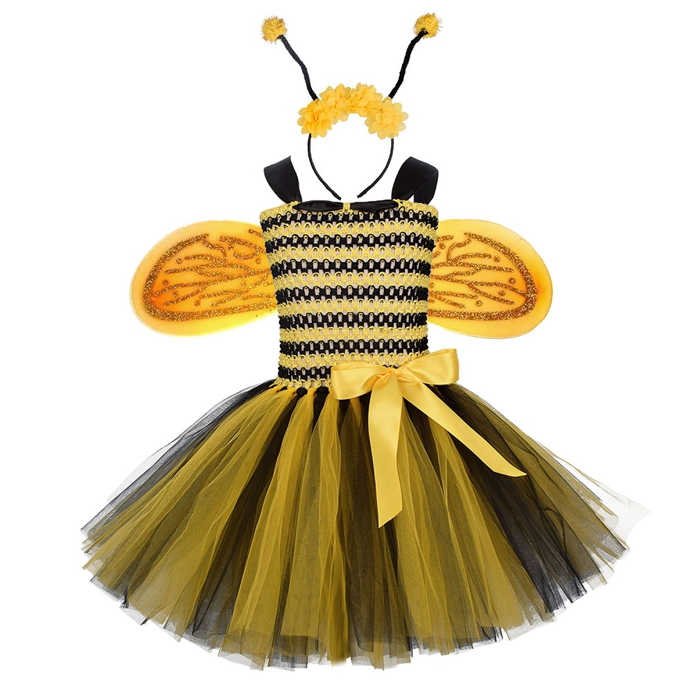 Girls Little Bee Costumes Tutu Dress Kids Halloween Cosplay Toddler Baby Girl Fancy Birthday Party Dress Up With Headband Wings