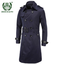 2020 Autumn Winter Trench Coat Men Casual Solid Slim Double Breasted Long Jacket