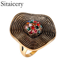 Sitaicery Vintage Bohemian Statement Jewelry Fashion Colorful Crystal Ring Love Engagement Wedding Rings For Women Accessories