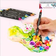 24-Color Double-Headed Color Pen Hook Line Pen Artist Coloring Drawing Marker Children's Crayons School Supplies
