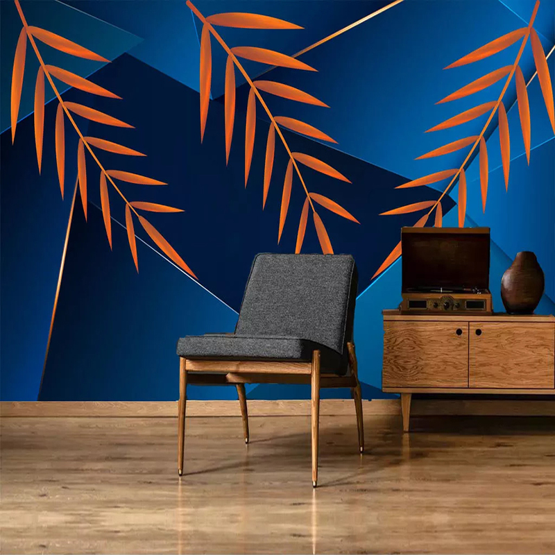 Custom 3D Mural Wallpaper Modern Abstract Golden Leaf Geometric Background Wall Painting Living Room Sofa Home Decoration Wall