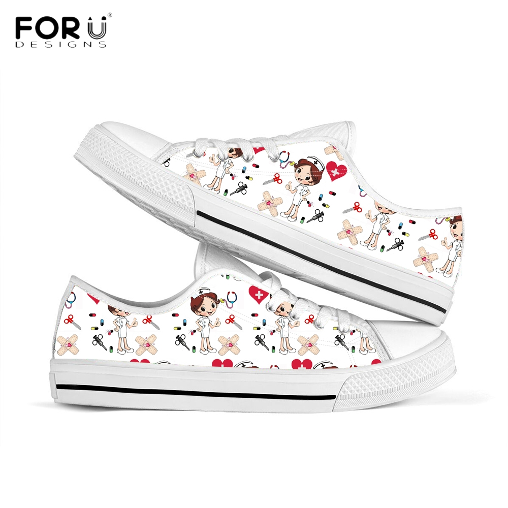 FORUDESIGNS Cute Cartoon Nursing Shoes For Women Sneakers Funny Ladies Nurse Shoes Casual Spring/Autumn Female Canvas Footwear