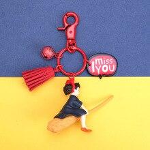 2019 Japanese Hayao Miyazaki Keychain Cute Anime Kikis Delivery Service Girl Kiki Action Figure Model PVC Doll key chain Gift