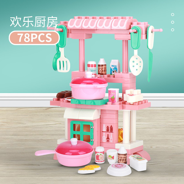 New Big Hollow Building Bricks Pretend Play Blocks Duplo Toys for Children Birthday Gifts Boys Girls Mini Kitchen Table Set