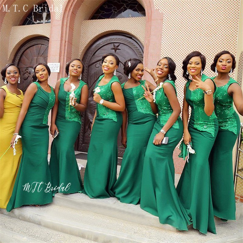 Emerald Green African Bridesmaid Dresses 2019 Wholesale Sleeveless Long Mermaid Wedding Party Dress For Women Customize Cheap