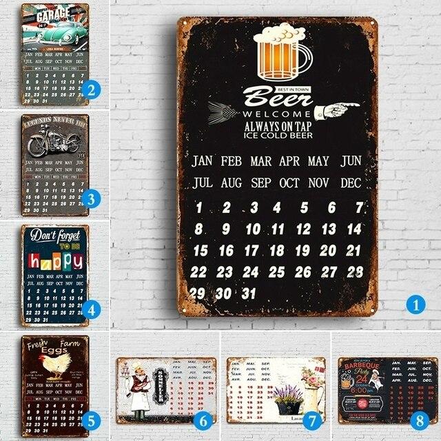 Hot Vintage Kalender Metalen Tin Teken Pub Casino Thuis Bar Decoratie Plaat Billboard Schilderen Koud Bier Wijn Wall Art Poster Plaques Signs Aliexpress