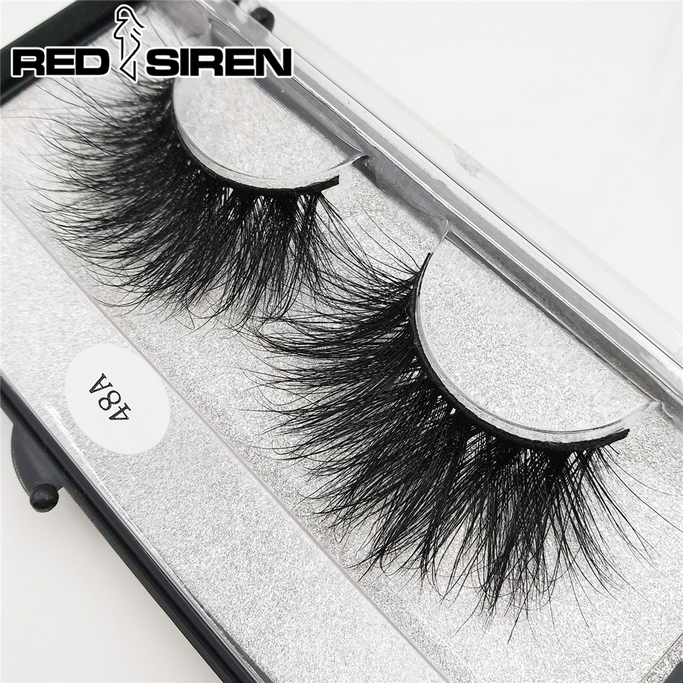 RED SIREN Mink Eyelashes	High Quality 25 Mm Lashes 100% Mink Hair Messy Long 3D Lashes Makeup Tool False Eyelashes 48A