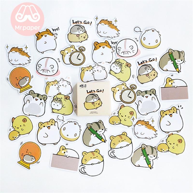 Купить с кэшбэком Mr.paper 45pcs/box 24 patterns Cute Children Stickers Scrapbooking Kawaii Cartoon Animals Strawberry Deco Stationery Stickers G