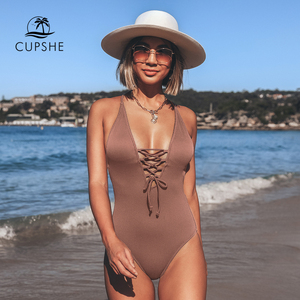 Image 4 - CUPSHE Remind Me Solid One piece Swimsuit Women Backless Deep V neck Lace Up Sexy Bodysuits 2020 Beach Bathing Suit Swimwear