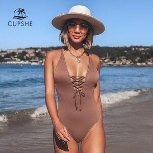 Image 4 - CUPSHE להזכיר לי מוצק מקשה אחת בגד ים נשים ללא משענת V העמוק צוואר תחרה עד סקסי Bodysuits 2020 חוף רחצה חליפת בגדי ים