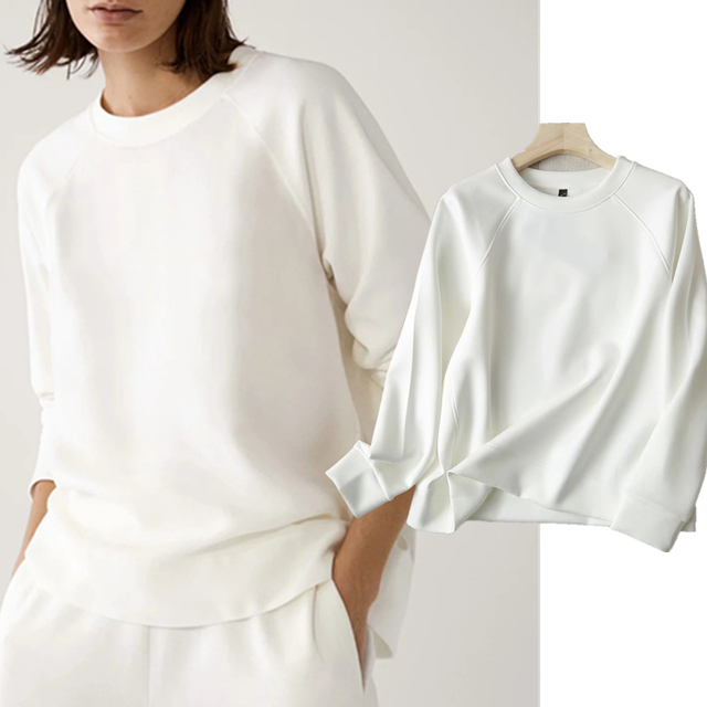 Withered 2020 Winter Hoodies Women England Style Fashion O-neck Causal White Color Solid Simple Loose Sweatshirt Pullovers Tops 1