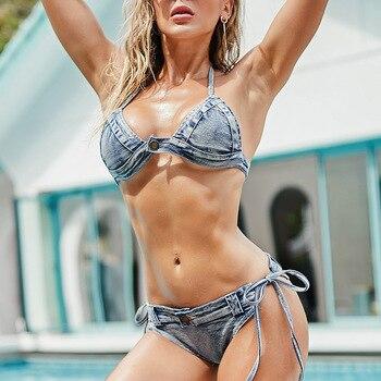 Hot sale women denim bikini set sexy bra low waist shorts beach swimwear clothing woman swimsuit bikinis sexy bikinis solid push up bikini 2020 hot sale padded bra low waist swimsuit female swimwear women biquini