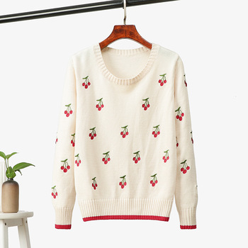 HLBCBG Embroidery Cherry Women Sweater Autumn Winter Color Block Knitted Pullover Top Peppy Style O Neck Female Jumper Pull color block striped jumper