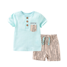 2020 letnie zestawy dla niemowląt niemowlę z krótkim rękawem T-Shirt + spodnie chłopięce ubrania dla dzieci odzież dziecięca kombinezon tanie tanio kiddiezoom COTTON Moda O-neck Przycisk zadaszone REGULAR Pasuje prawda na wymiar weź swój normalny rozmiar Suknem Vest