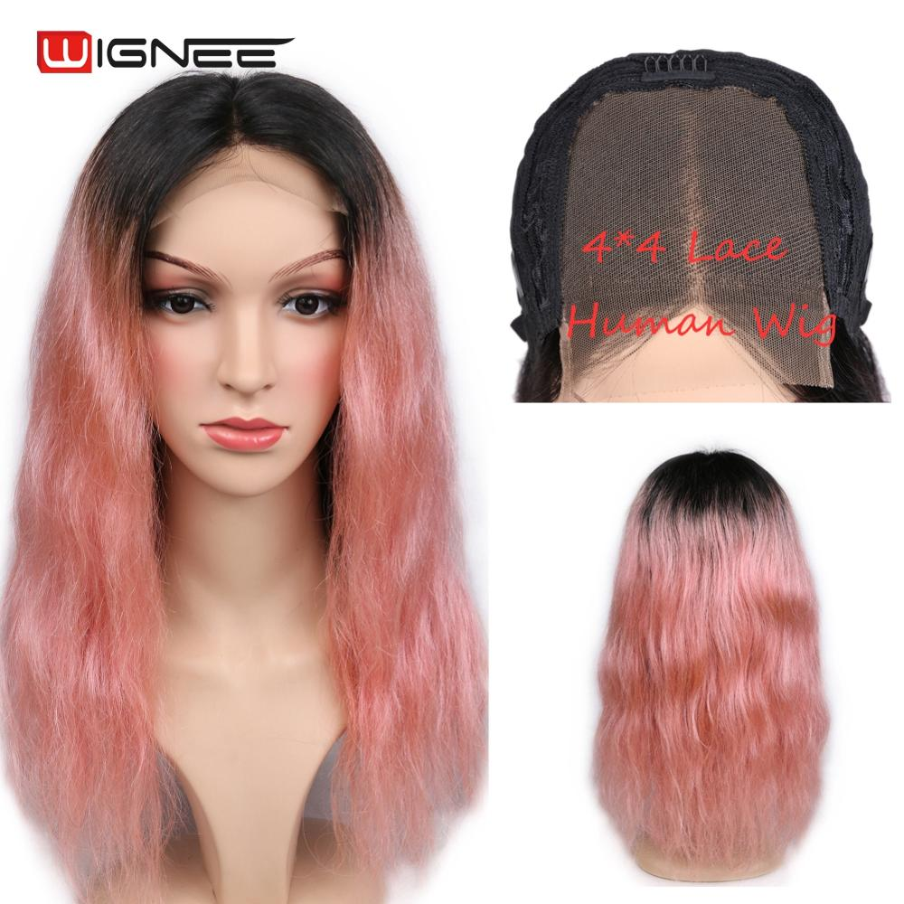 Wignee 4*4 Lace Closure Human Hair Wigs For Black/White Women Ombre Rose Gold Pink Color Natural Wave Remy Brazilian Curly Wigs