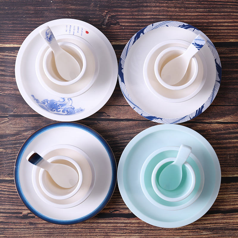 Creative Melamine Tabletop Tableware Four-piece Set Hotel Restaurant Dishes Dish Set Melamine Chinese Style Melamine Hotel Table