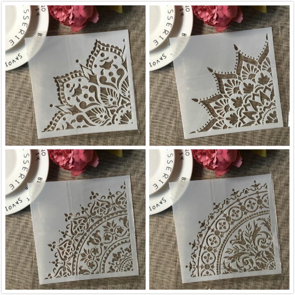 20*20cm Mandala 1/4 Wheel Circle Geometry DIY Layering Stencils Painting Scrapbook Coloring Embossing Album Decorative Template