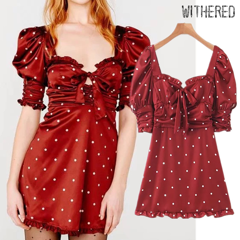 Withered Fashion Blogger Vintage Polka Dot Satin Chffon Square Collar Dress Women Vestidos De Fiesta De Noche Vestidos Blazers