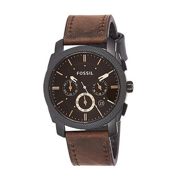 цена на Fossil Watch Men Machine Mid-Size Chronograph Watch with Brown Leather Sport Watch Analog Brown Dial Men's Watch FS4656