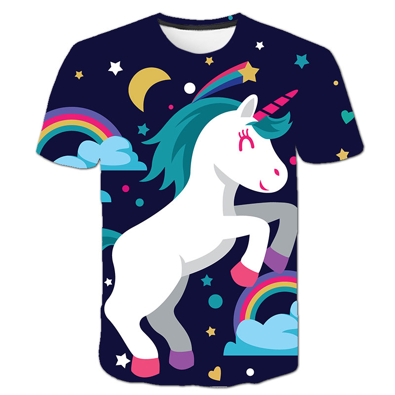 Baby Girls T-shirt 4 5 6 7 8 9 10 11 12 13 14 Years Unicorn Kids T Shirt Children Clothes Summer Unicorn T shirts Girl Tops Tee 4
