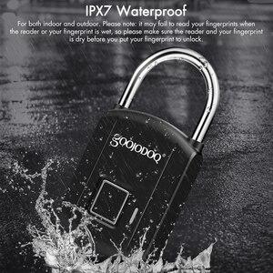 Image 4 - Goojodoq 스마트 지문 잠금 usb 충전 자물쇠 금속 보안 열쇠가없는 충전식 전기 도어 잠금 배낭 수하물