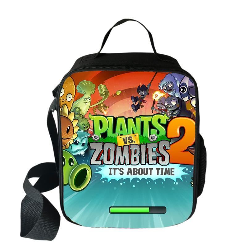 Bolsa dos Desenhos Bolsas de Piquenique Portátil para a Escola Plantas Zombie Cooler Almoço Animados Meninas Comida Térmica Meninos Lancheira Tote vs