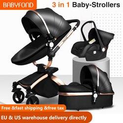 السفينة حرة! عربة أطفال 3 في 1 من Babyfond عربة أطفال تدور 360 درجة بإطار ذهبي عربة أطفال من البولي يوريثان مقعد سيارة آمن مع سرير لحديثي الولادة