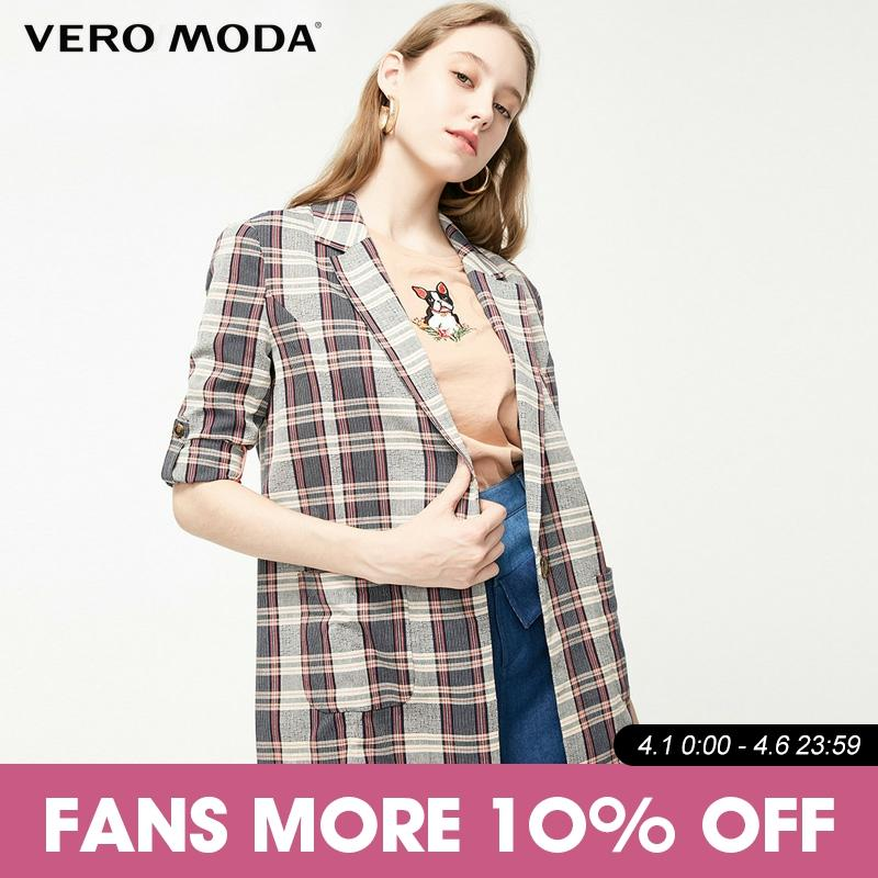 Vero Moda Women Retro Lapel Plaid Blazer | 319208542