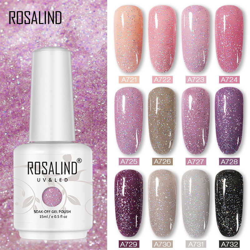 ROSALIND Neon Cat Kuku Gel 15ML Hybrid Pernis Manikur Glitter Putih Vernis Semi Permanen UV LED Kuku Seni Dasar top Coat